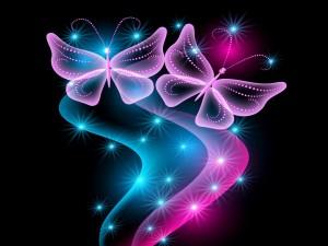 Mariposas rosas con brillo y resplandor