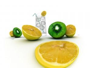 Limón, kiwi y bebida con hielos