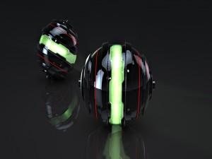 Esferas negras con luz verde