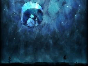 Postal: En la luna con papá