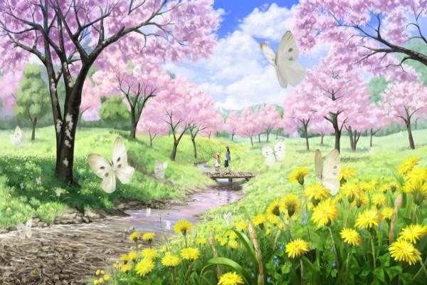 Paseo por el campo en primavera