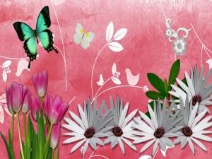 Flores y mariposas en primavera
