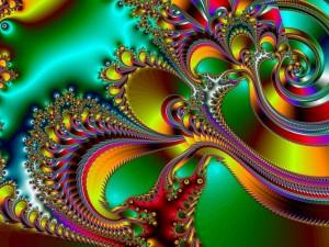 Postal: Plumas y espirales abstractas de colores