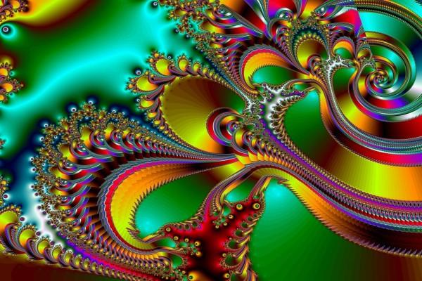 Plumas y espirales abstractas de colores