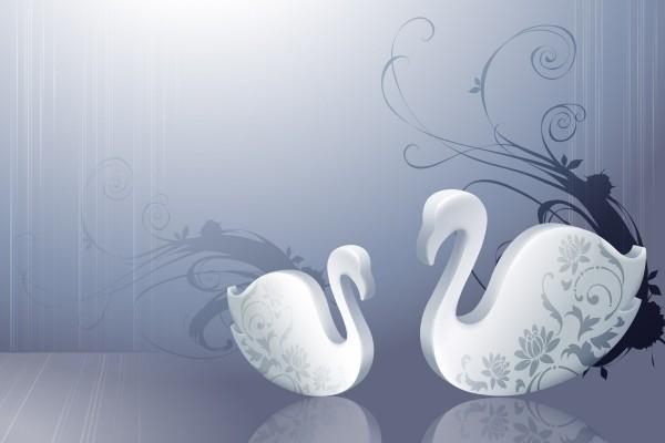 Cisnes con flores