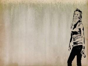 Postal: Chica en la pared