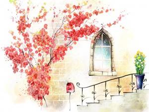 Postal: Buzón en las escaleras
