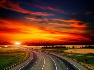 Postal: Carretera hacia la puesta del sol