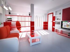 Moderno salón blanco y rojo