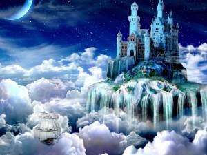 Barco y castillo en un mundo de fantasía