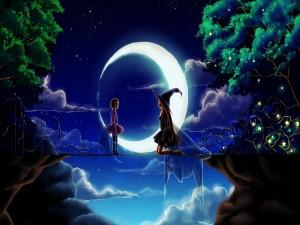 Brujas junto a la luna