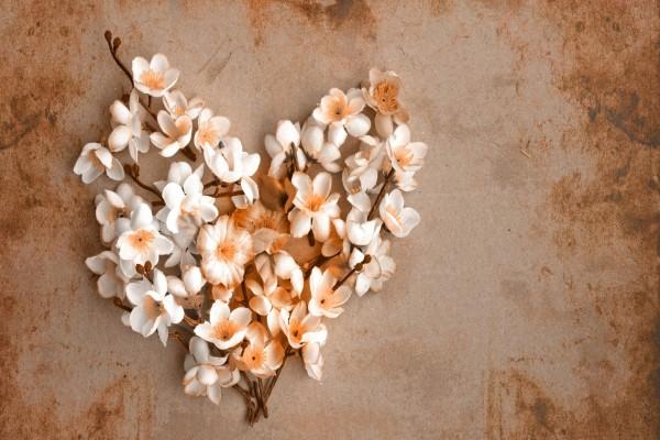 Corazón con flores blancas