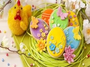 Postal: Galletas decoradas para la celebración de Pascua