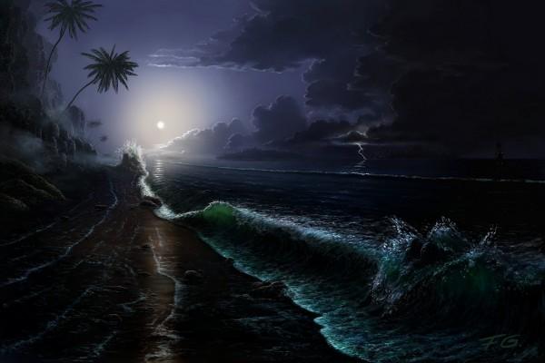 La luna y un relámpago visto desde la playa