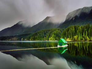 Postal: Caseta verde flotando en el lago