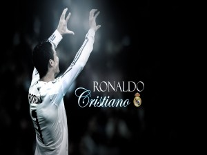 Cristiano Ronaldo y escudo del Real Madrid