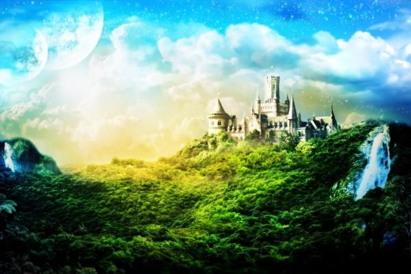 Castillo en un mundo de fantasía