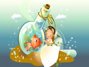 Postal: Hada y su amigo pez