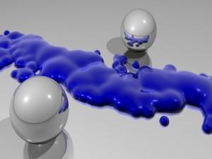 Esferas y líquido azul