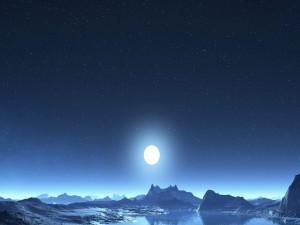 Luna llena y estrellas en el cielo