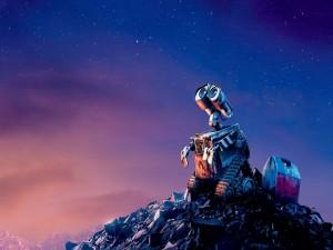 Wall-E mirando al cielo