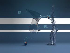 Postal: Mariquitas y mariposas habitando un árbol computerizado