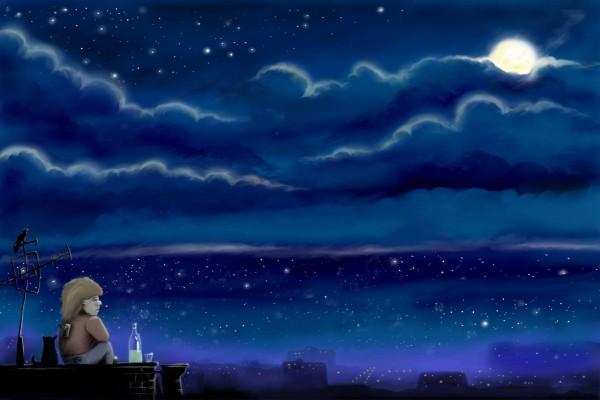 Contemplando las luces de la noche