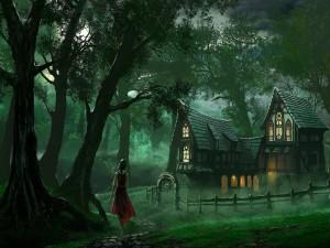 Postal: Muchacha sola por el bosque