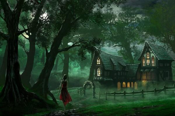 Muchacha sola por el bosque