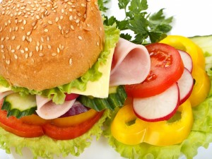 Postal: Hamburguesa de pavo, queso y vegetales