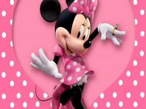 Minnie vestida de rosa con lunares blancos