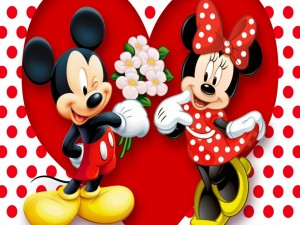 Postal: Mickey le regala flores a Minnie
