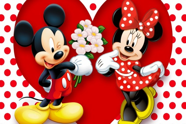 Mickey le regala flores a Minnie