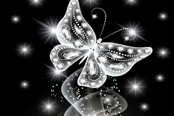 Mariposa abstracta, con un gran resplandor blanco