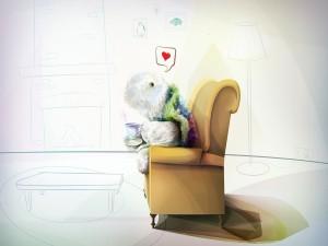 Postal: Pensando en el amor tomando té