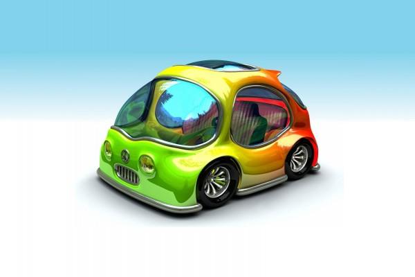 Pequeño y colorido coche