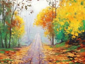 Los colores del otoño en el camino