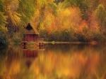 Cabaña de madera en el lago