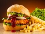 Hamburguesa de pollo frito y patatas