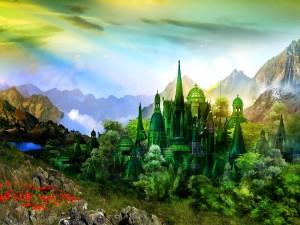 Un gran castillo entre montañas