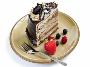 Postal: Tarta rellena con mousse de chocolate
