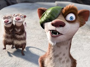 Ice Age 3: Buck con los hermanos Crash y Eddie