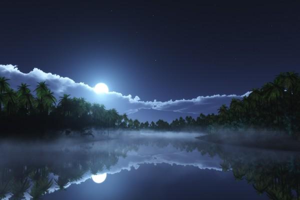 Luna en la noche tropical
