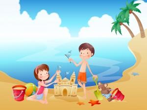 Postal: Hermanos jugando en la playa