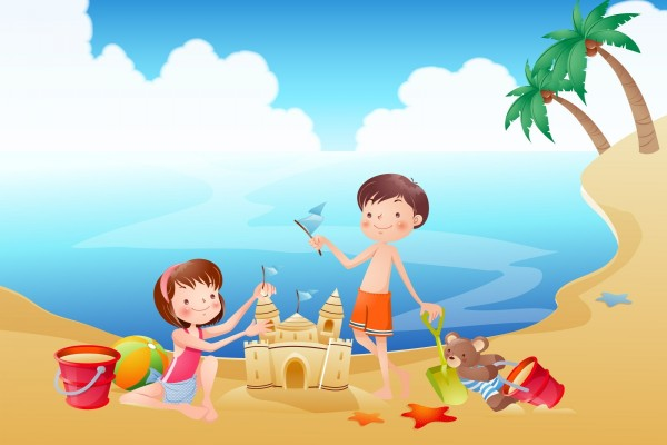 Hermanos jugando en la playa