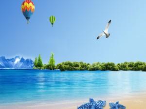 Postal: Globos sobre la playa