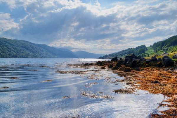Lago entre montañas y piedras