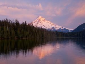 Montaña nevada vista desde el lago