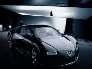 Un coche Mercedes en un estudio fotográfico