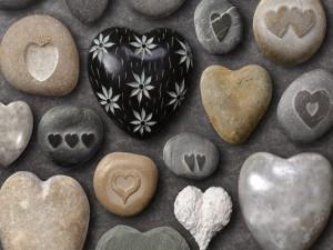 Postal: Piedras corazón